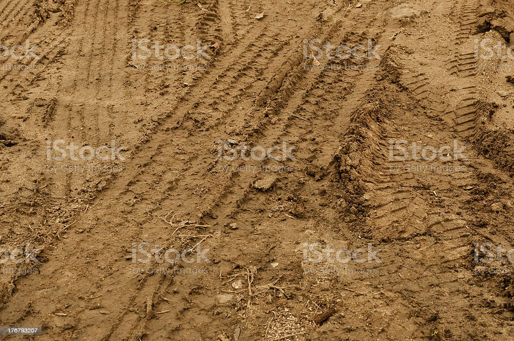 Truck Tire Tracks in Mud Background stock photo
