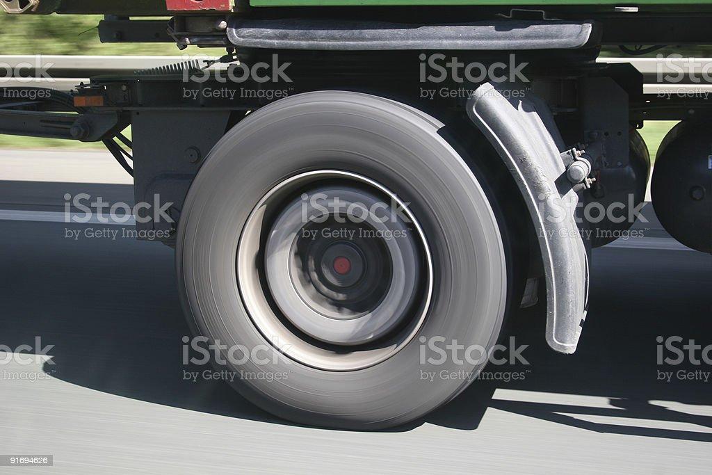 LKW Reifen in Fahrt - truck wheel on the move stock photo