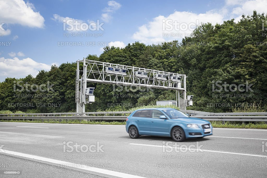 Truck toll system at german highway - control gantry royalty-free stock photo