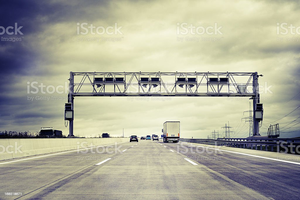 Truck toll system, german highway - control gantry stock photo