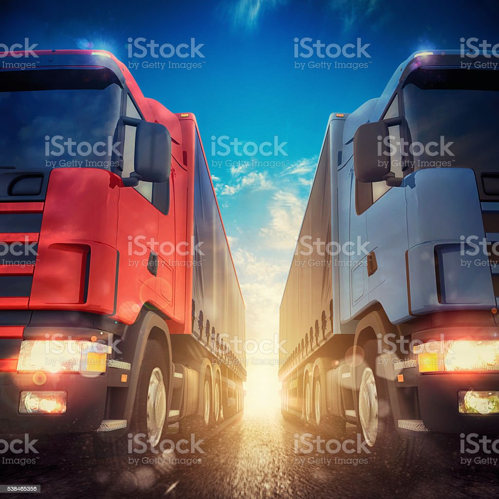 Illustration of transporter trucks on a highway