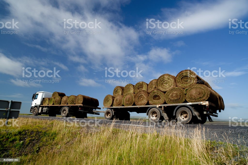 truck travel in iceland landscape stock photo