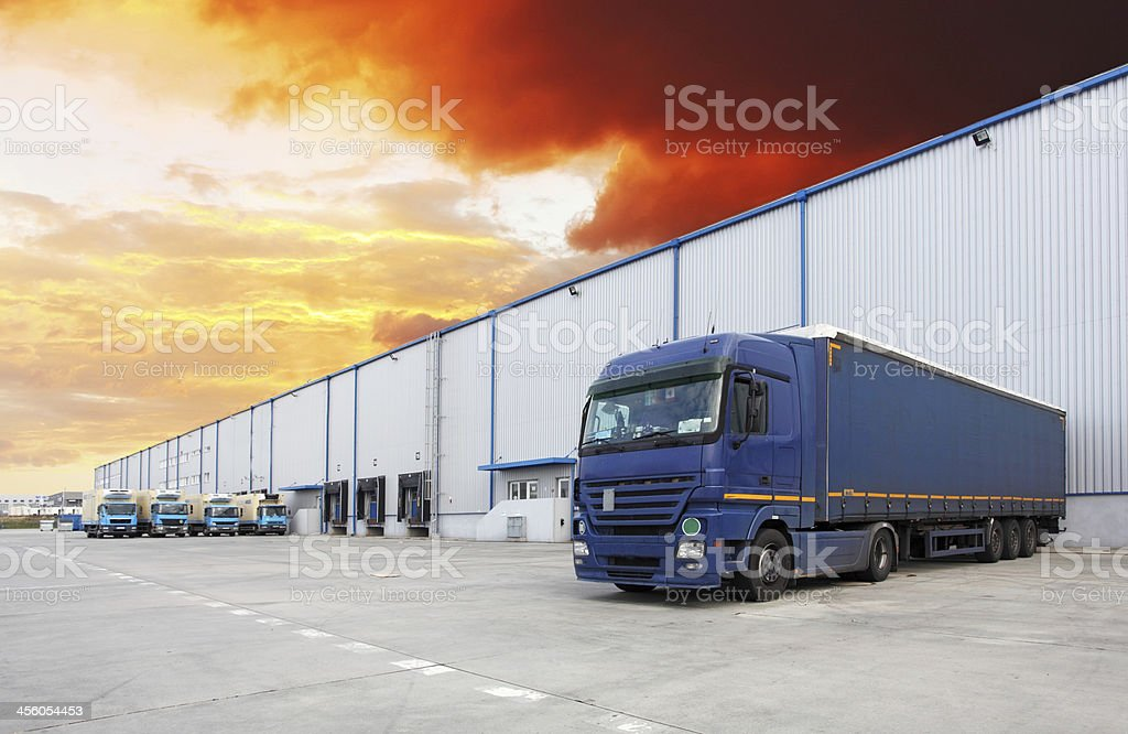 Truck, warehouse building stock photo