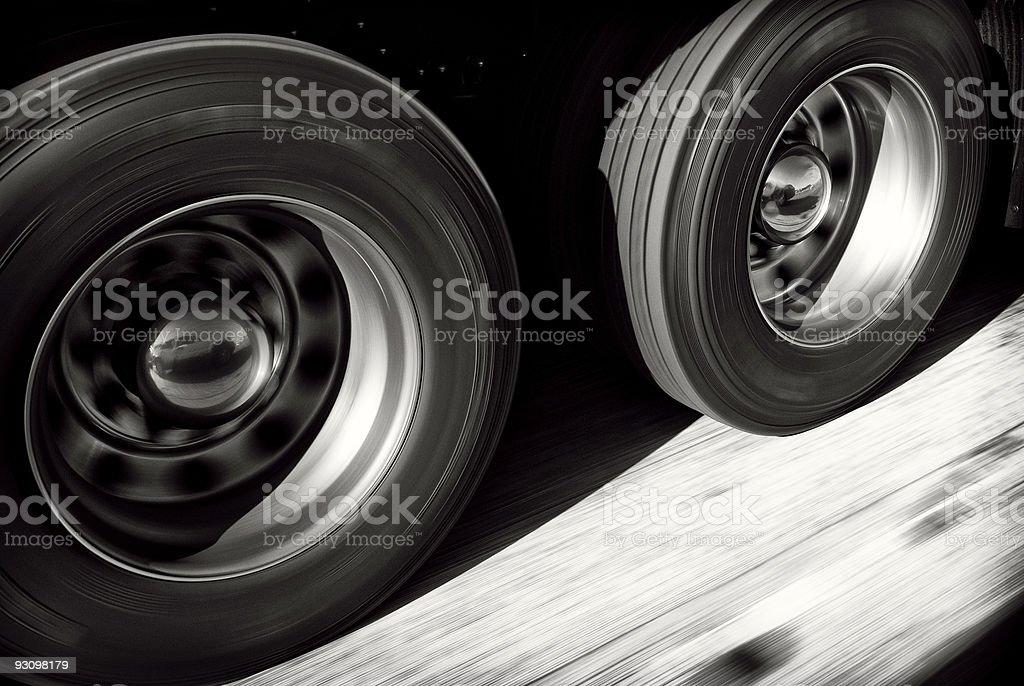 Truck Wheels In Motion stock photo