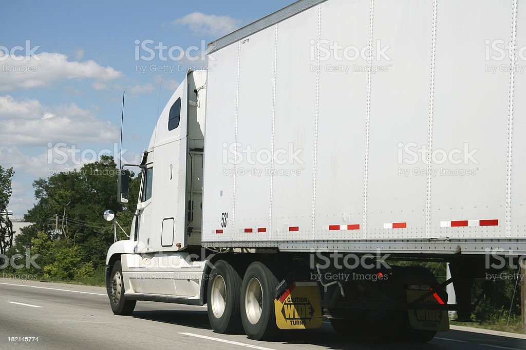 Truck - White Highway Street stock photo