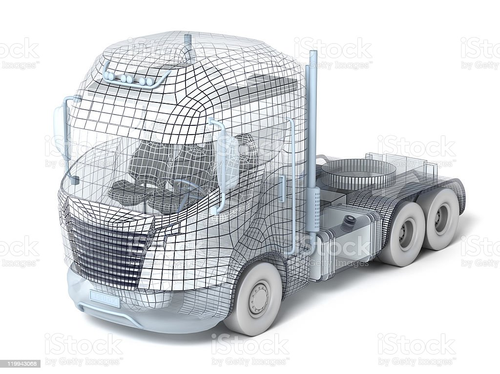 Truck Wireframe on white with visible polygons royalty-free stock photo