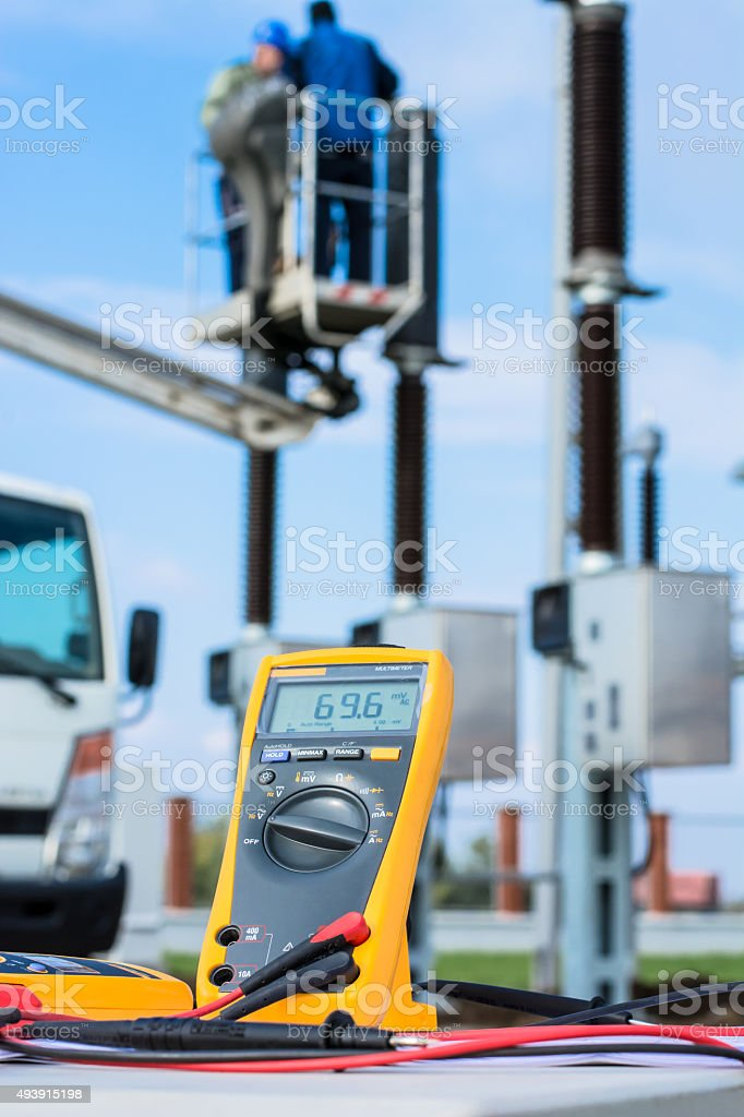 Truck with aerial platform stock photo
