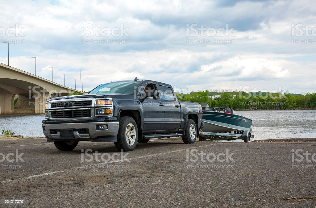 Truck with Boat in summer stock photo