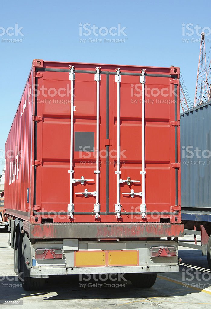 Truck with cargo container in port royalty-free stock photo