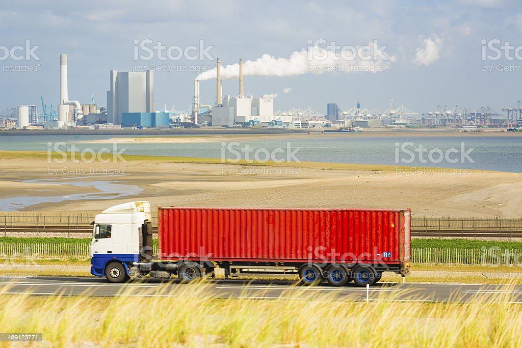Truck with cargo container in the Netherlands stock photo