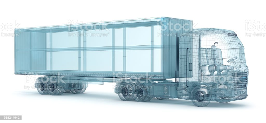 Truck with cargo container, wire model. stock photo