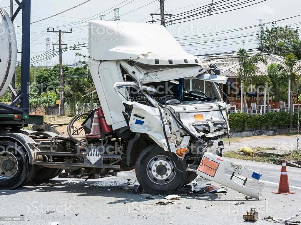 truck with chemical tank accident stock photo