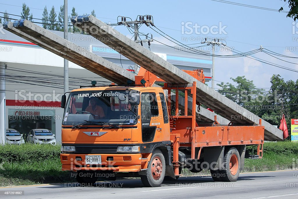 Truck with Crane of Khun Phon SG Eletricity stock photo