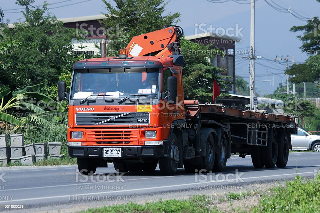 Truck with crane of Provincial eletricity Authority of Thailand stock photo