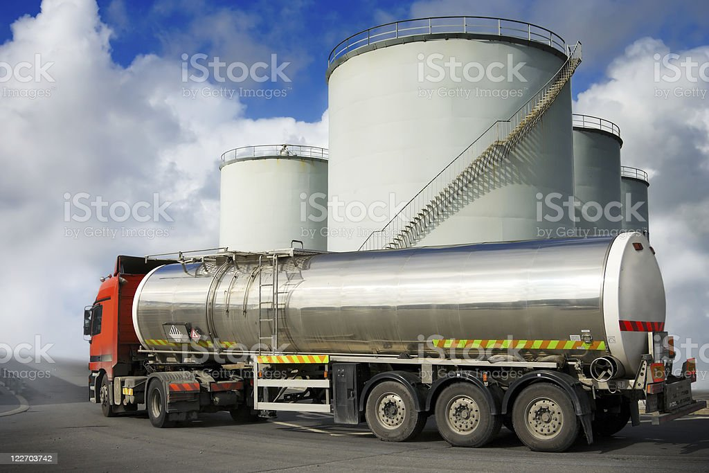 truck with fuel tank stock photo