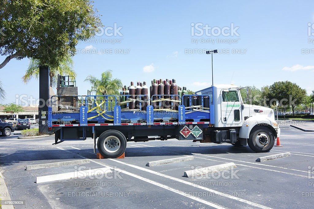 Truck with industrial gases stock photo