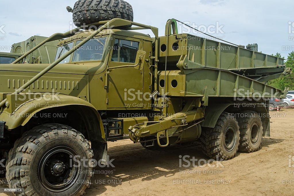 Truck with mechanized bridge TMM-3 stock photo
