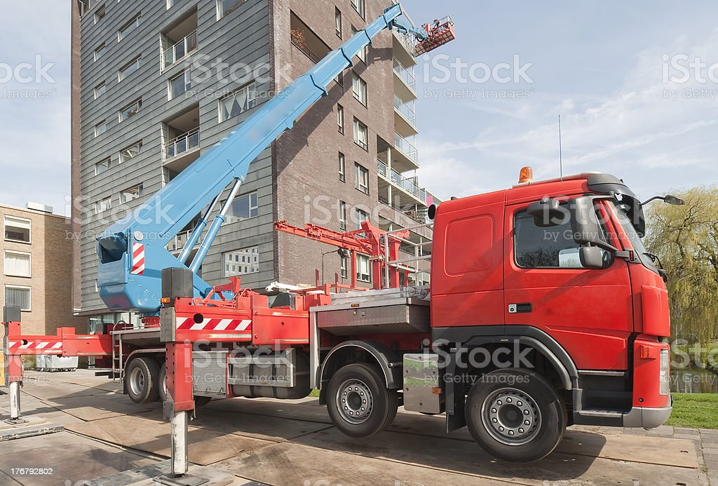 Truck with mounted aerial access platform royalty-free stock photo