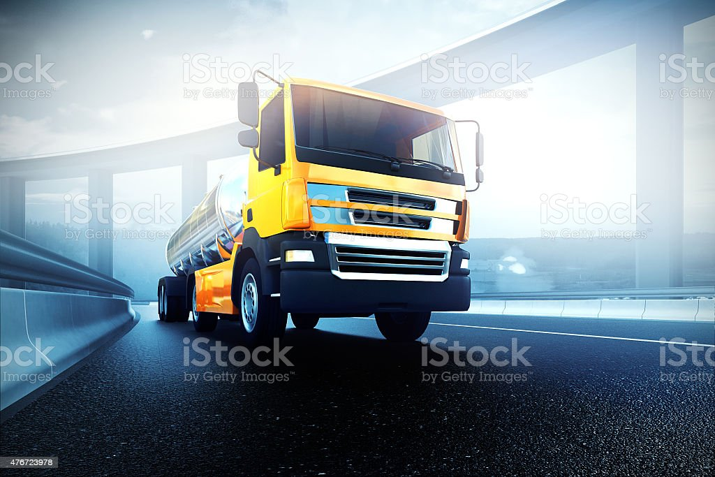 truck with oil cistern on asphalt road highway stock photo