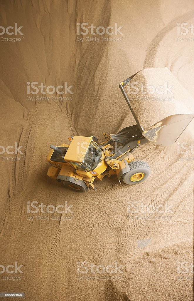 Truck with wooden granules stock photo