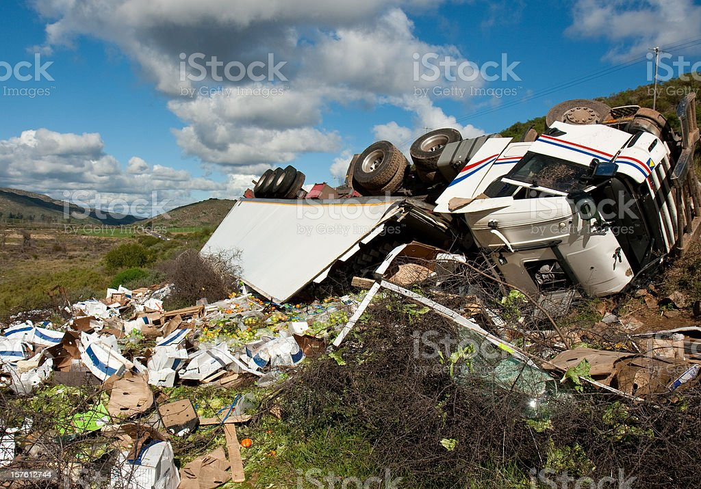 truck wreck stock photo
