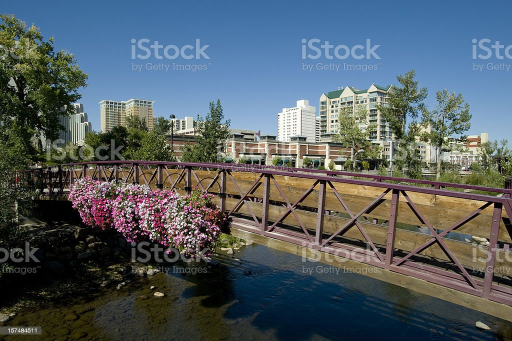 Truckee River and Footbridge, Reno, Nevada royalty-free stock photo