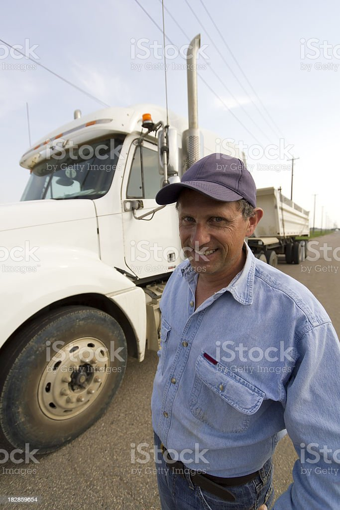 Trucker and his Rig royalty-free stock photo