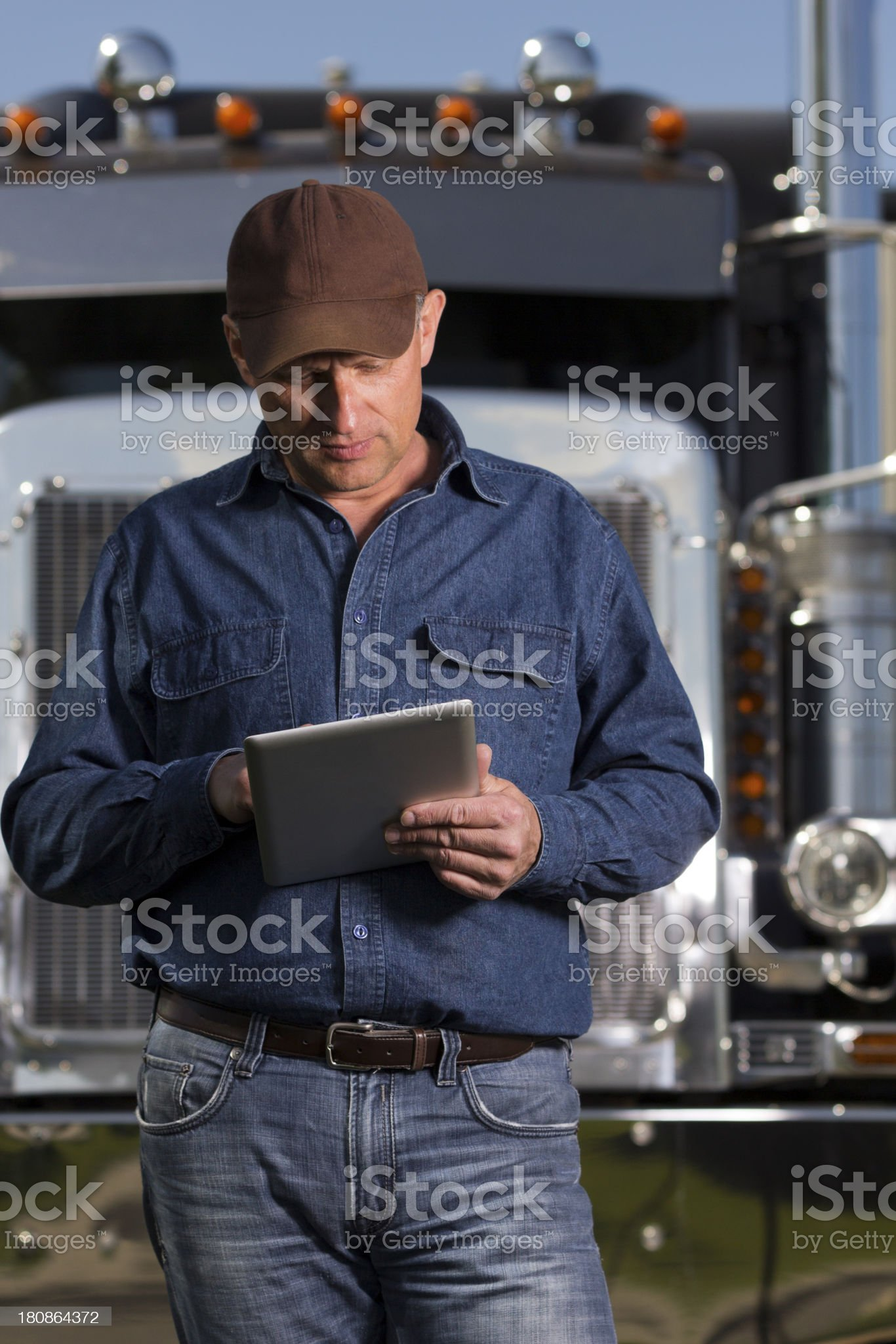 Trucker and Tablet Computer royalty-free stock photo