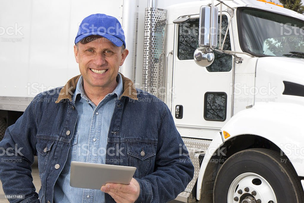 Trucker and Tablet royalty-free stock photo