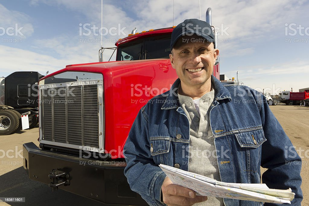 Trucker at a Truck Stop royalty-free stock photo