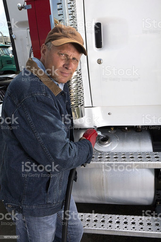 Trucker Fill Up stock photo
