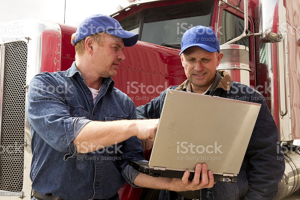 Truckers and Computer royalty-free stock photo