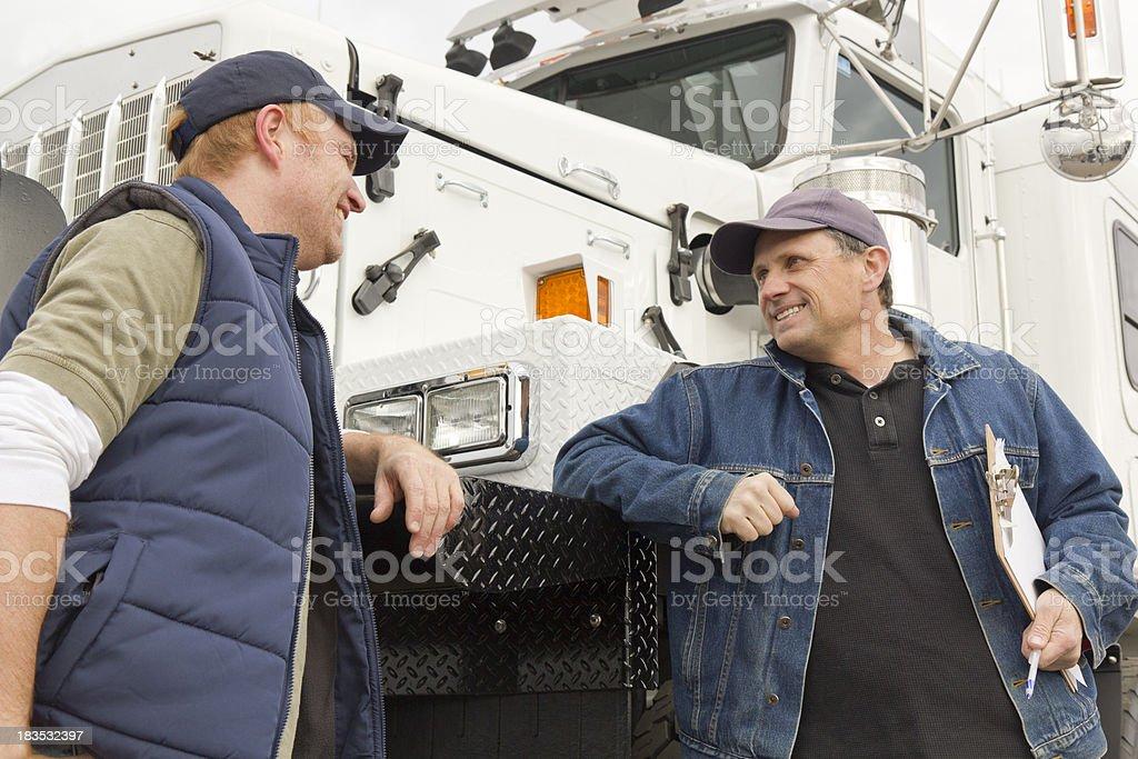 Truckers Conversation stock photo