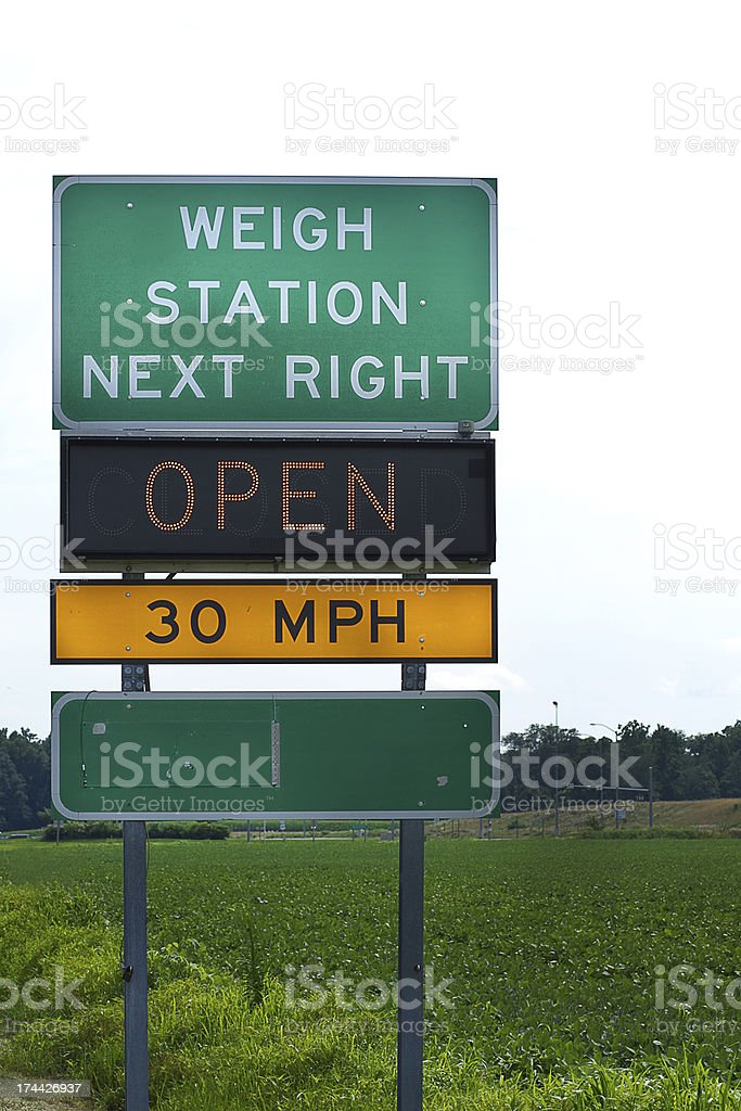 Truckers Weigh Station Highway Sign stock photo
