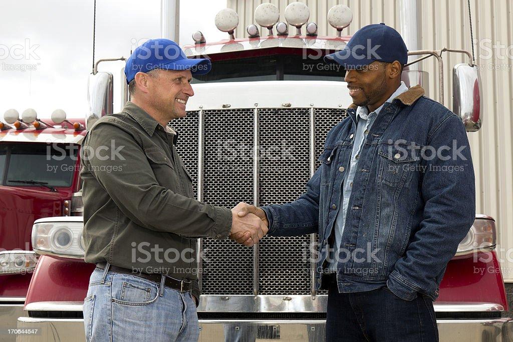 Trucking Handshake royalty-free stock photo