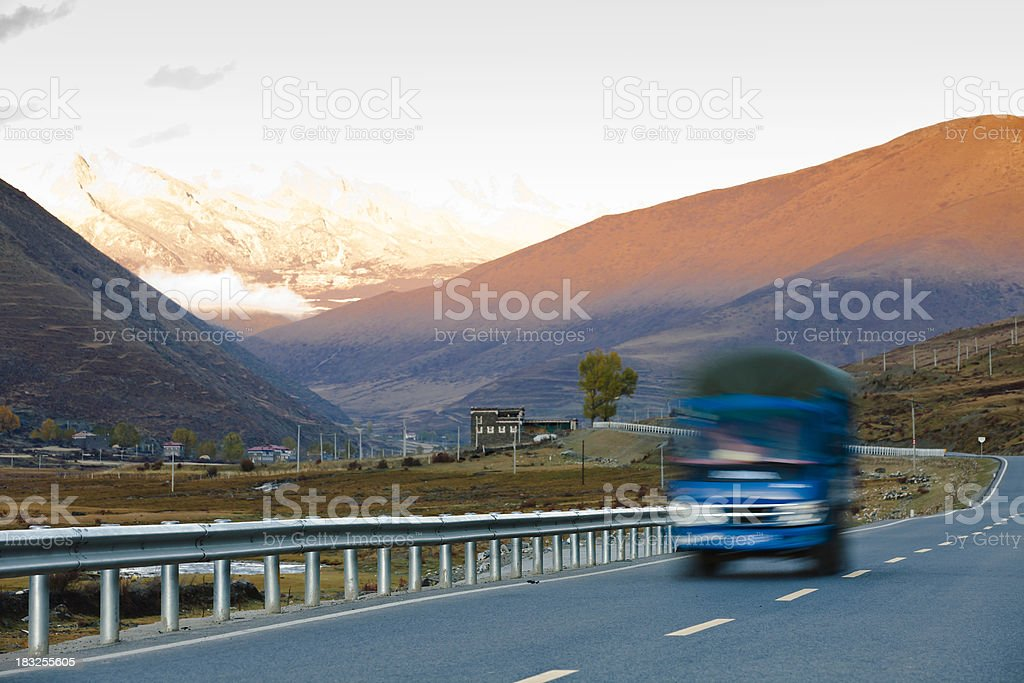 Trucking in sunset royalty-free stock photo
