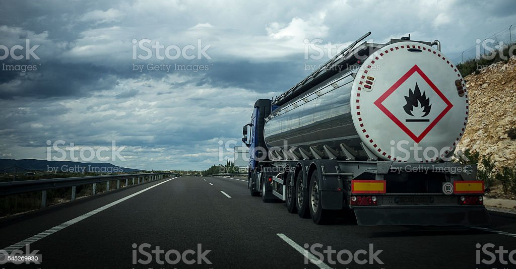 Trucking on the road. stock photo