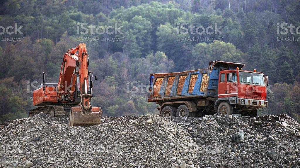 trucks and bulldozers royalty-free stock photo