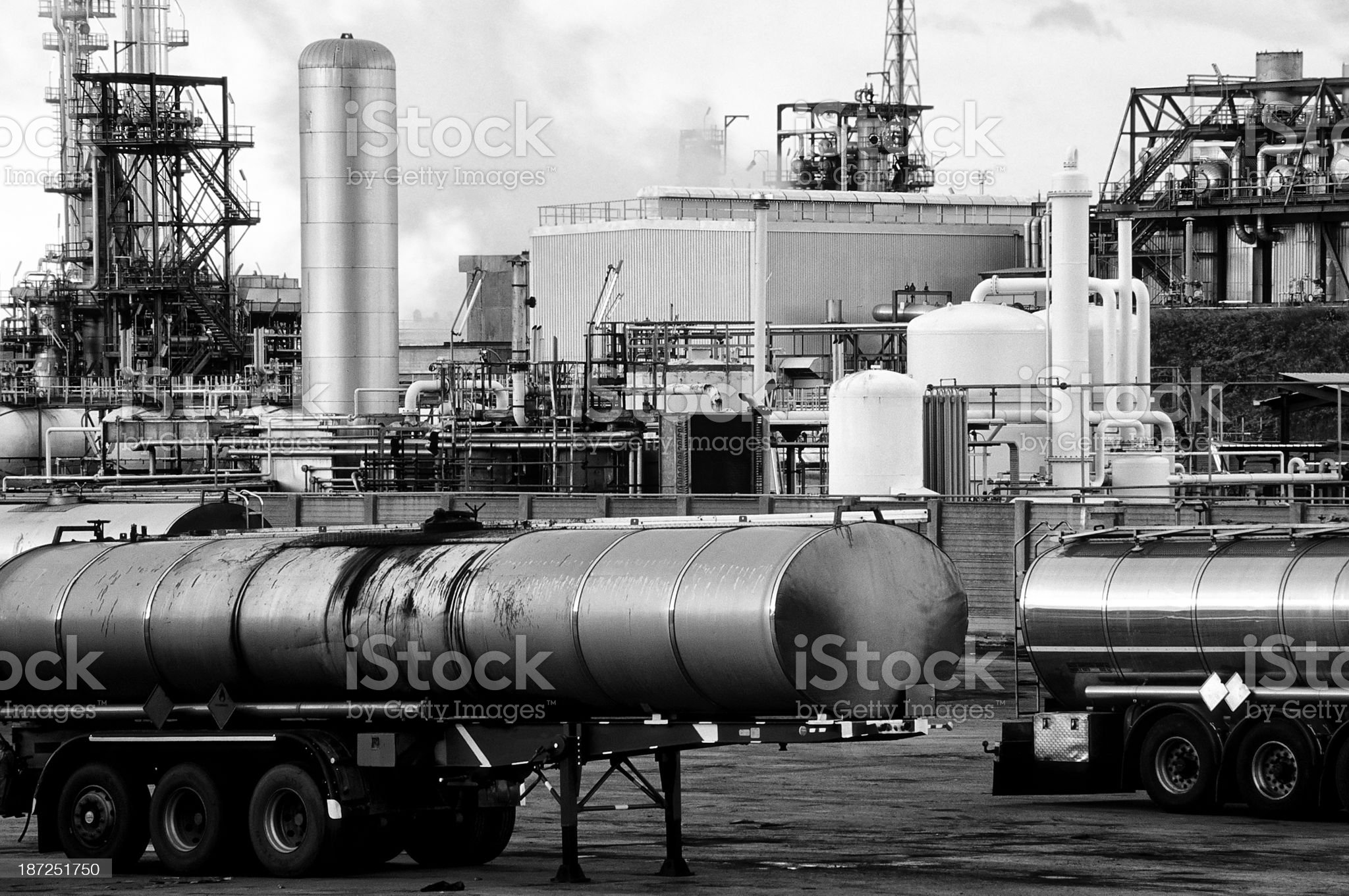 Trucks and Chemical Plant royalty-free stock photo