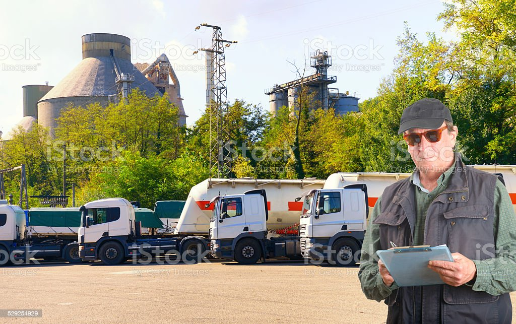 Trucks and Inspector stock photo
