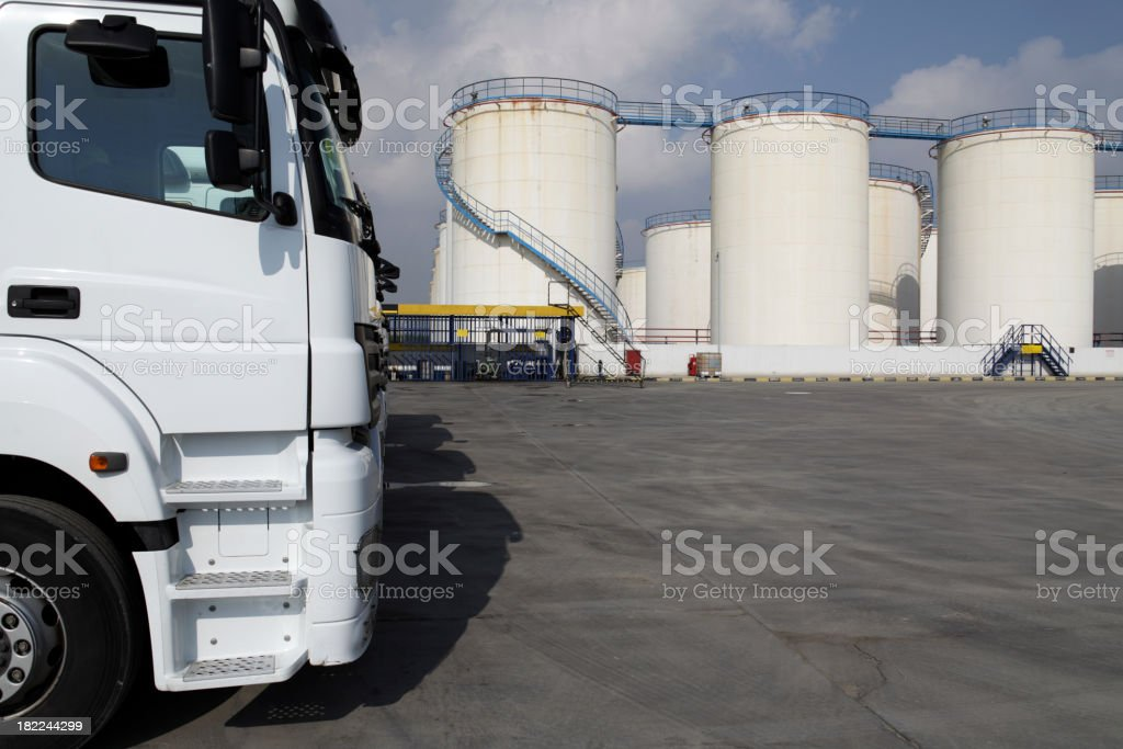Trucks are waiting for Oil royalty-free stock photo