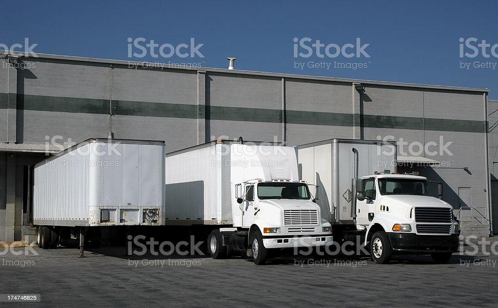 Trucks at the Loading Docks stock photo