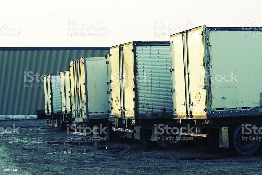 Trucks at the warehouse royalty-free stock photo
