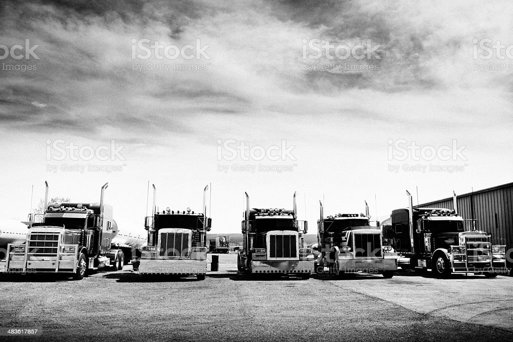 Trucks Convoy, California. Black And White stock photo