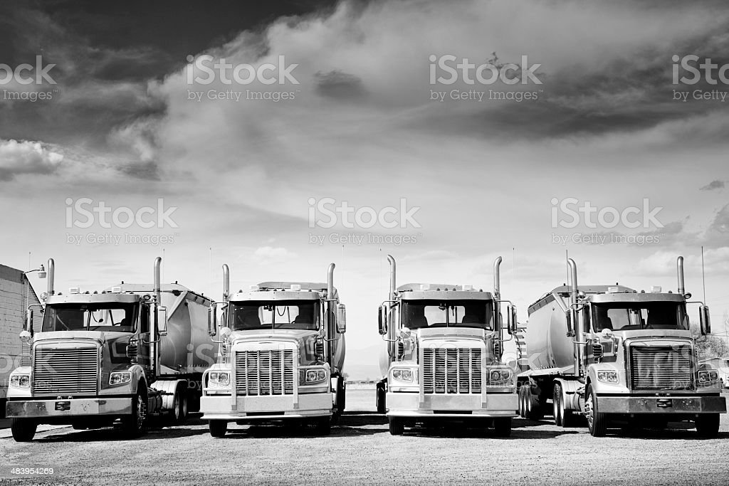 Trucks Convoy, Route 66. Black And White. stock photo