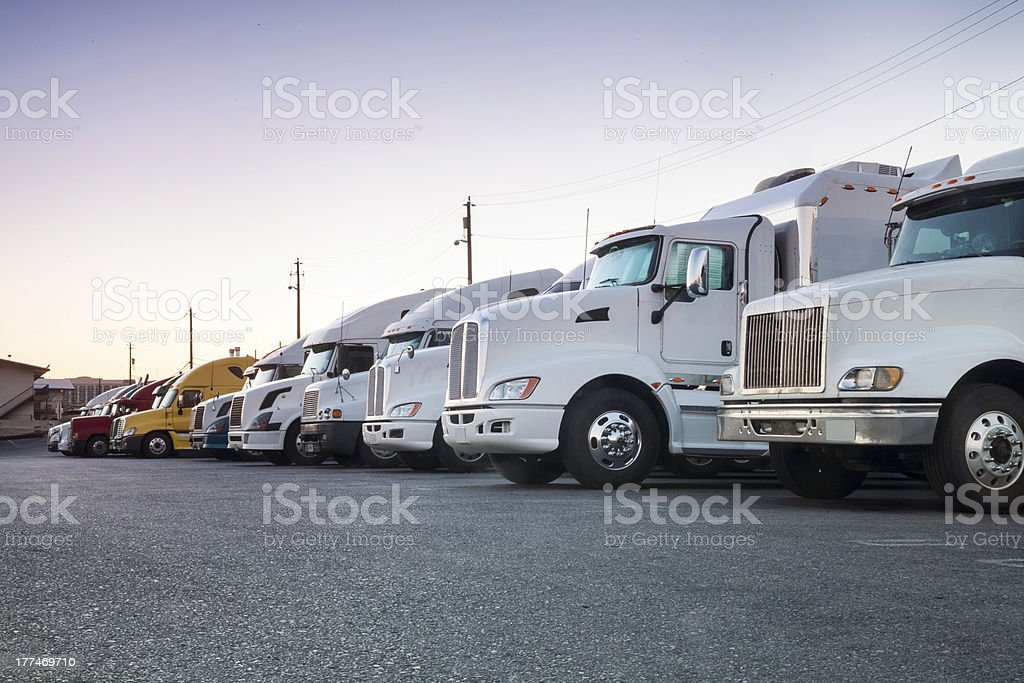 Trucks in a row stock photo