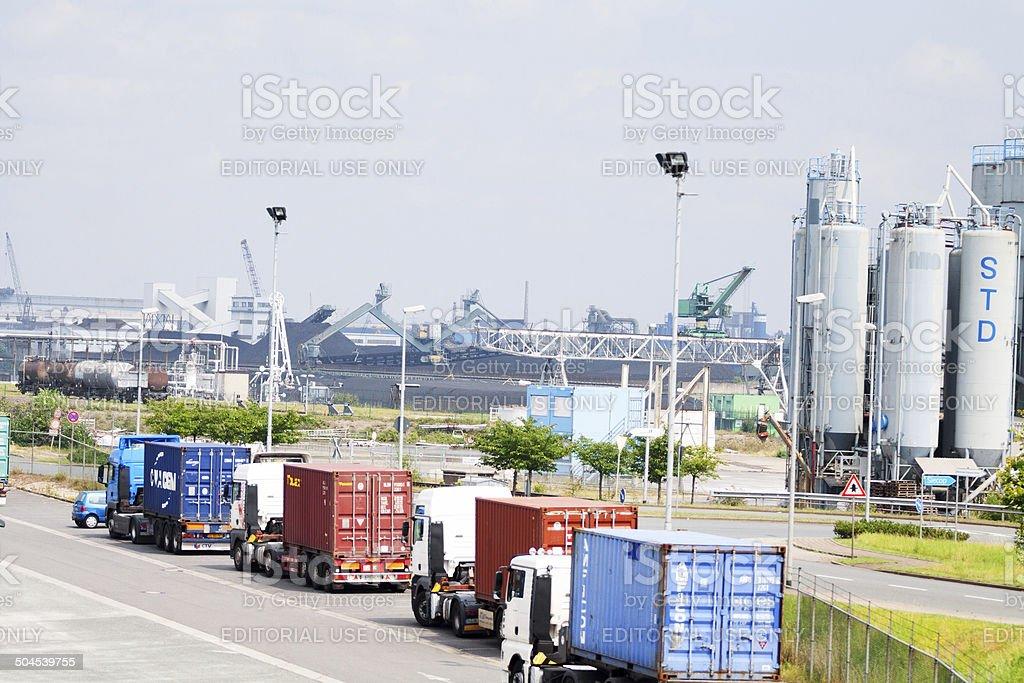 Trucks in inland port Duisburg Ruhrport stock photo