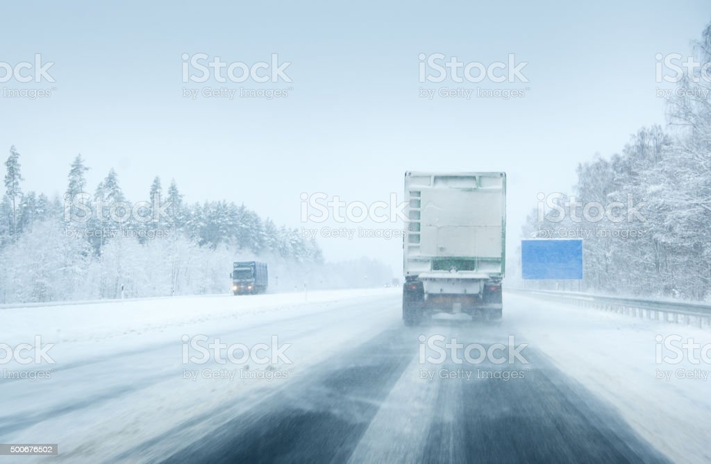 Trucks moving on a motorway stock photo