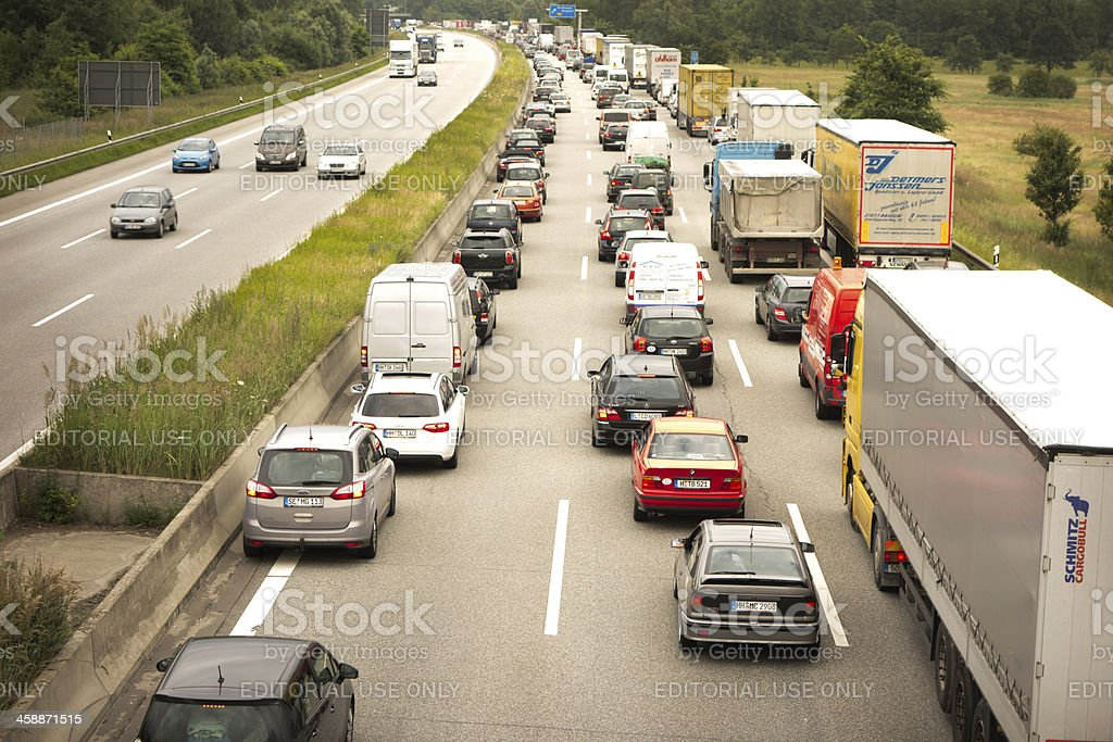 Trucks on Highway A1 Autobahn, Germany royalty-free stock photo