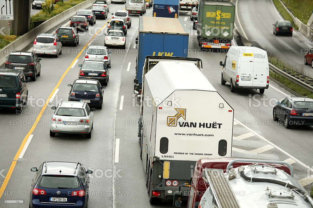 Trucks on Highway A1 Autobahn, Germany stock photo